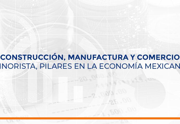 Construcción, manufactura y comercio minorista, pilares en la economía mexicana.